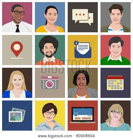 People Diversity Portraits Vector