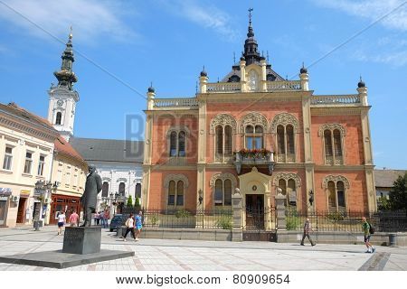 NOVI SAD, SERBIA - AUGUST 02: statue J. J. Zmaj and neo-classical architecture of Vladicin Court Palace of Bishop in Novi Sad. Shot in 2014