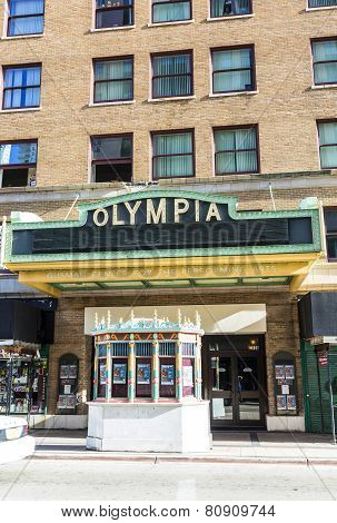 Facade Of Olympia Cinema In Miami