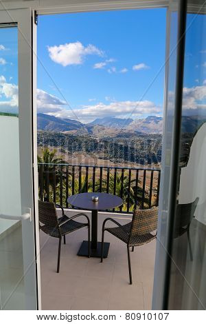 Hotel Balcony And Mountains In Ronda, Andalusia, Spain