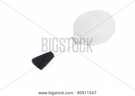 Blower Brush For Cleaning Lens And Cameras Isolated On White.
