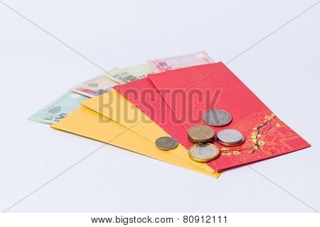 Chinese New Year festival decoration isolated on white background. Red envelopes (tien li xi vietnam