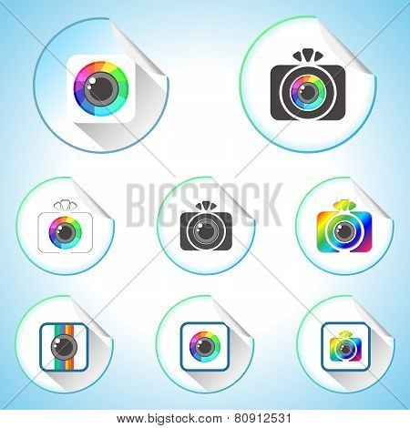 Set Of Photo Camera Sign Round Stickers
