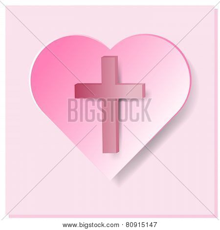 True Cross In Pink Heart On Pink Background