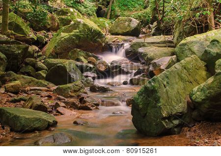 Waterfall In Deep Rain Forest Jungle. Krok E Dok Waterfall Saraburi, Thailand.