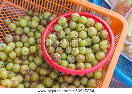 Fresh Indian Gooseberry Raw Fruit In Market