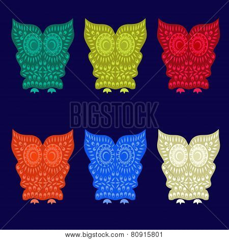 Colorful Cute Owl Characters  - Illustration