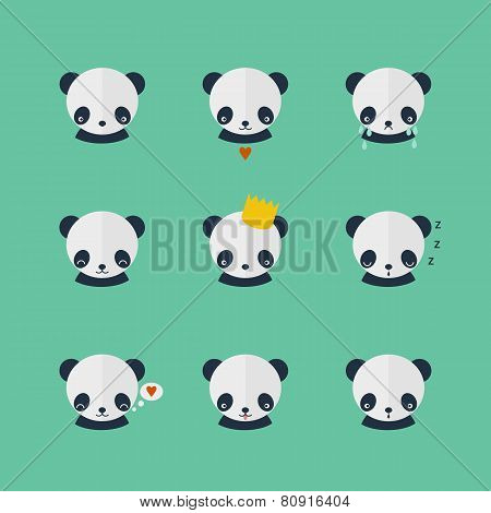 Panda Vector Icons Set In Flat Design