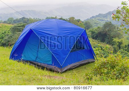 Camping Tent In Campground At National Park
