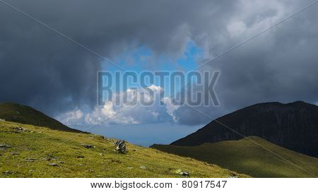 Way to Moldoveanu Peak, the highest peak in Romanian Carpathians