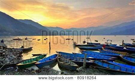 Sunset at phewa lake  pokhara  Nepal