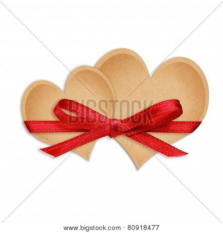 Craft Paper Hearts Tied With Ribbon
