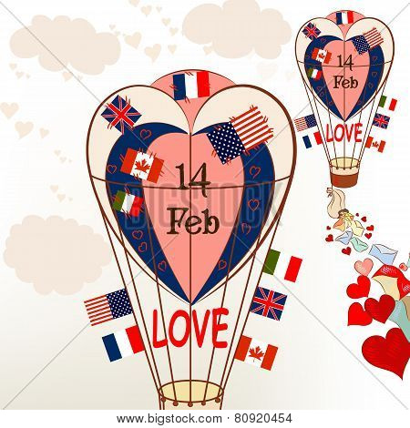 Air Balloons With International Flags And Hearts Valentine's Greetings
