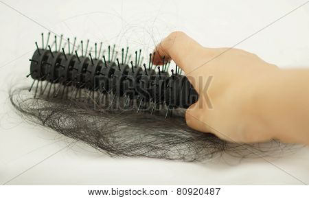 Women Hand Holding Loss Hair Comb