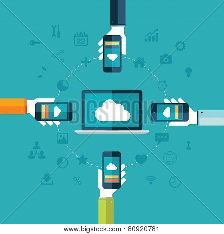 Cloud computing. Laptop and hands holding phones vector illustration.