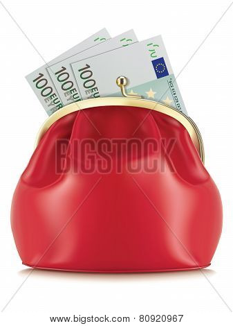Wallet With Euro, Isolated. Vector Illustration