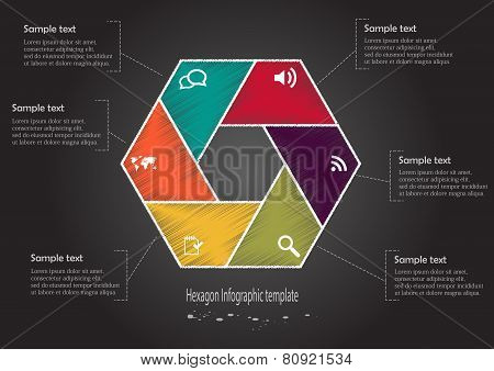 Infographic Scribble Hexagon