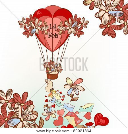 Cute Valentine's Day Card With Hand Drawn Air Balloon, Hearts And Flowers