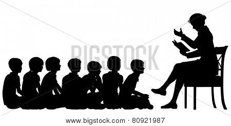 EPS8 editable vector silhouettes of a female teacher reading a story to her pupils with all figures as separate objects