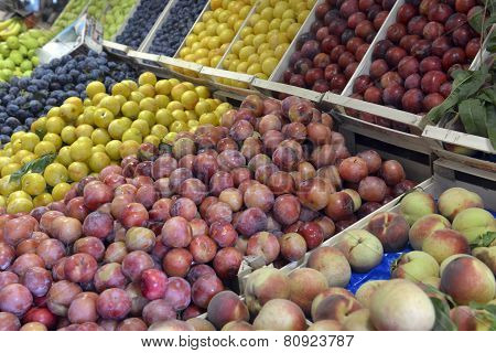 Plums And Peaches On Display