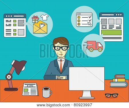 Businessman Sitting At The Desk And Using Credit Card And Computer For Online Shopping