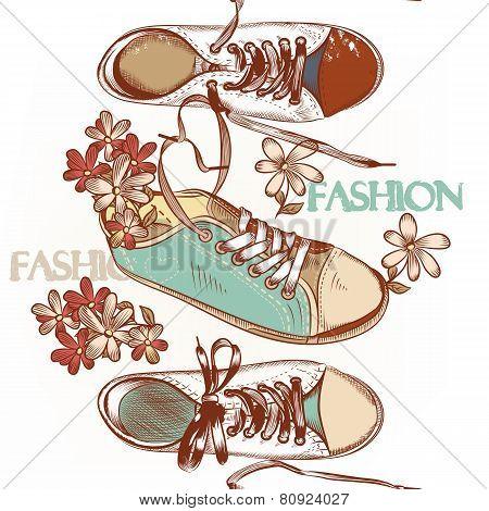 Fashion Seamless Pattern Hand Drawn Sport Boots