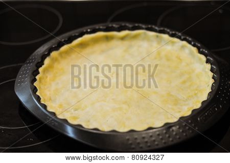 Preparation Of The Pie With Cheese And Tomatoes