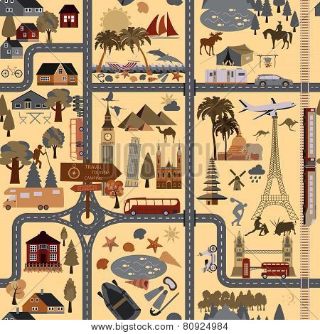 Travel background. Vacations. Beach resort, camping, excursion and landmarks seamless pattern