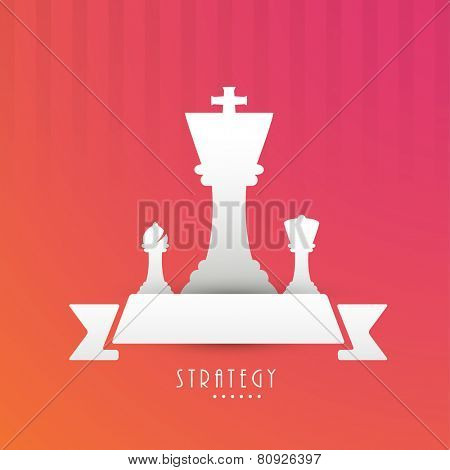 Chess strategy with figures king, bishop, queen and a blank ribbon for text on stylish red background.