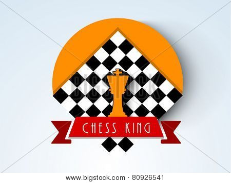 Stylish sticker, tag or label for chess with chess board and king figures on stylish background.