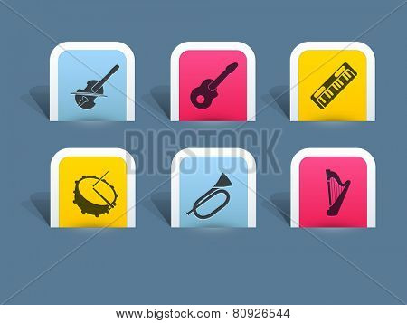 Musical instrument icon on steel blue color background.