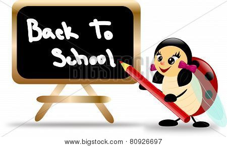 Ladybug With Board And Text Back To School