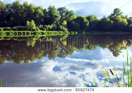 Sky With Clouds Reflecting In The Water Of The Lake