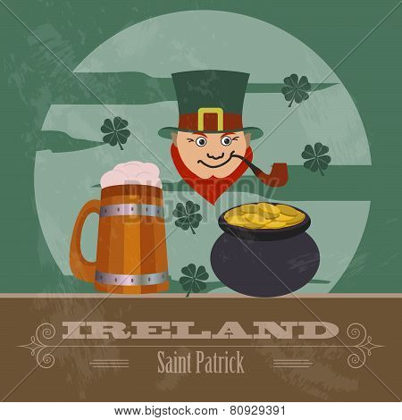 Ireland landmarks. Retro styled image.