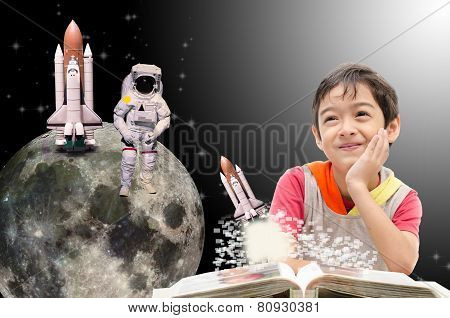 Little Boy Dreaming  About His Future Out Of Space