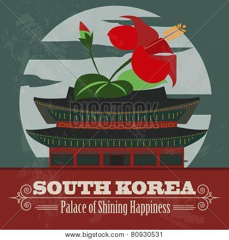 South Korea landmarks. Retro styled image