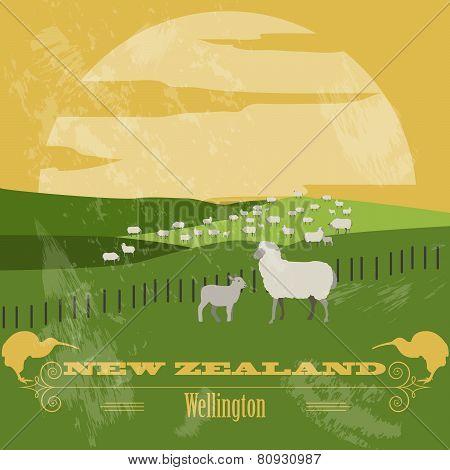 New Zealand. Retro styled image