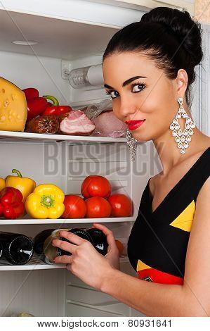 beautiful woman and a fridge