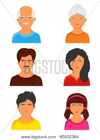 Set of happy family avatars with grandmother, grandfather, father, mother and children on white background.
