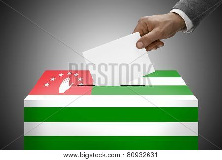 Ballot Box Painted Into National Flag Colors - Abkhazia