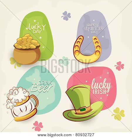 Colorful sticker, tag or label design with St. Patrick's ornaments on clover shamrock leaves decorated background.