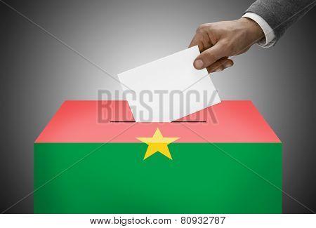 Ballot Box Painted Into National Flag Colors - Burkina Faso