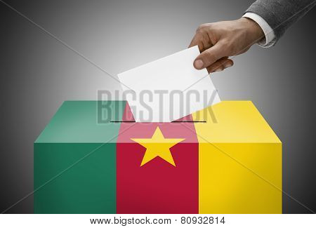 Ballot Box Painted Into National Flag Colors - Cameroon