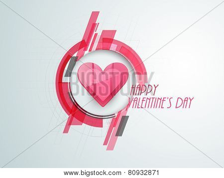 Happy Valentine's Day celebration with pink heart on hi tech design.