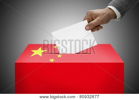 Ballot Box Painted Into National Flag Colors - People's Republic Of China