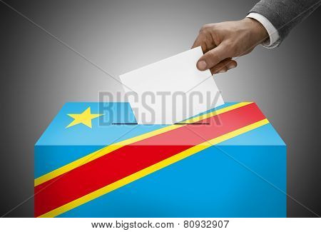 Ballot Box Painted Into National Flag Colors - Democratic Republic Of The Congo - Congo-kinshasa