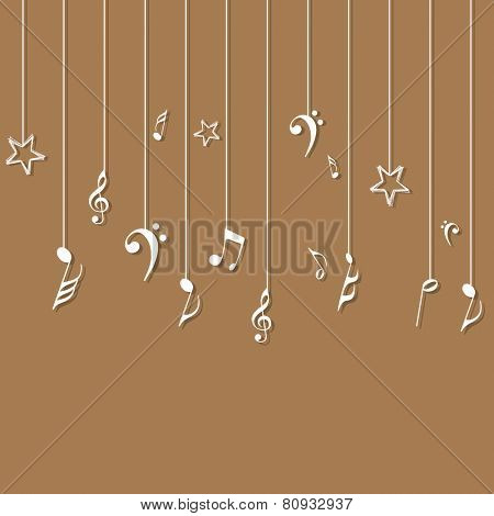 Hanging musical notes on light brown background.