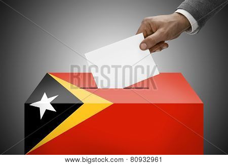Ballot Box Painted Into National Flag Colors - East Timor