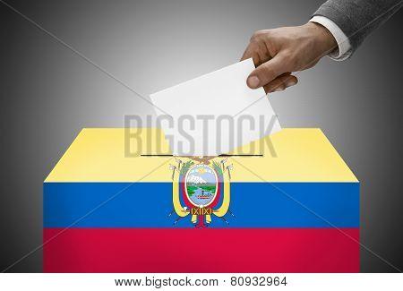 Ballot Box Painted Into National Flag Colors - Ecuador