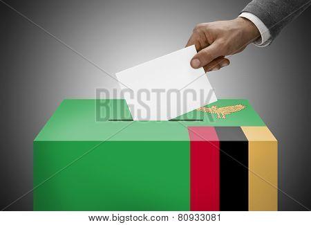 Ballot Box Painted Into National Flag Colors - Zambia